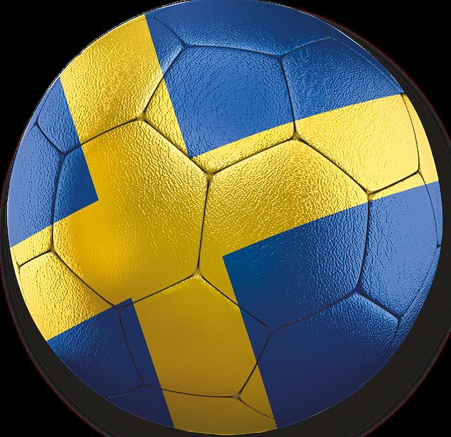 Fotboll med svenska flaggan